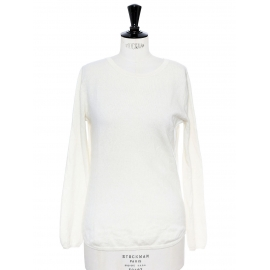 White cashmere round neck sweater Retail price €350 Size 36
