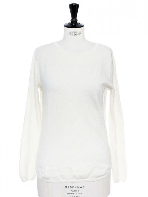 Pull col rond en cachemire blanc ivoire Prix boutique 350€ Taille 36