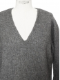 V neck grey wool and yak knitted sweater Retail price $400 Size S