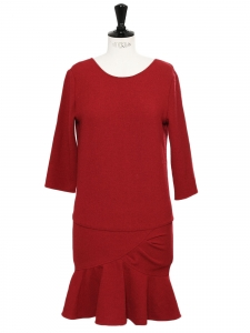 ISLA burgundy red ruffle hem open back dress Retail price €210 Size 1