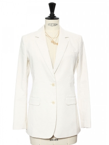 Ivory white cotton blend classic blazer jacket Retail price $655 Size 0