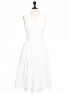 ROBIN White stretch crepe cutout back dress Retail price €1150 Size M