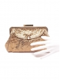 ANYA HINDMARCH Copper gold metallic textured leather wallet clutch Retail price €400