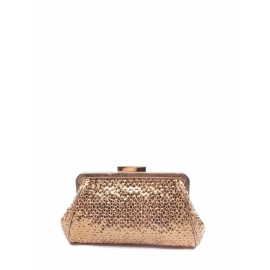 Copper gold metallic textured leather wallet clutch Retail price €400