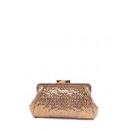 Sac pochette du soir en cuir métallisé cuivre doré Px boutique 400€