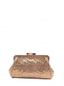 ANYA HINDMARCH Sac pochette du soir en cuir métallisé cuivre doré Px boutique 400€