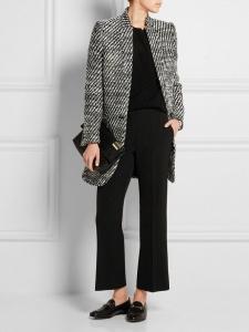 Manteau veste BRYCE en tweed de laine noir et blanc Px boutique $1220 Taille 38