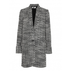 Manteau veste BRYCE en tweed de laine noir et blanc Px boutique $1220 Taille 40