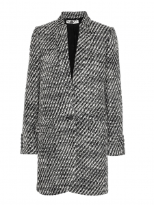 BRYCE black and white wool tweed structured coat Retail price $1220 Size 38