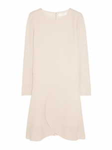 Powder pink crepe long sleeves dress with ruffle Retail price €900 Size 40