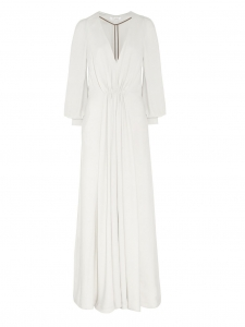 Plunging neckline long sleeves white crepe gown Retail price $3,095 Size 34