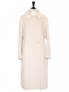 Beige pink cashmere, wool and angora maxi coat Retail price €1700 Size 42