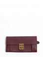 ELSIE Prune pebbled leather continental wallet Retail price €380