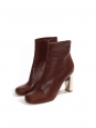 BAM BAM burgundy red leather ankle boots silver heel Retail price €730 Size 40.5