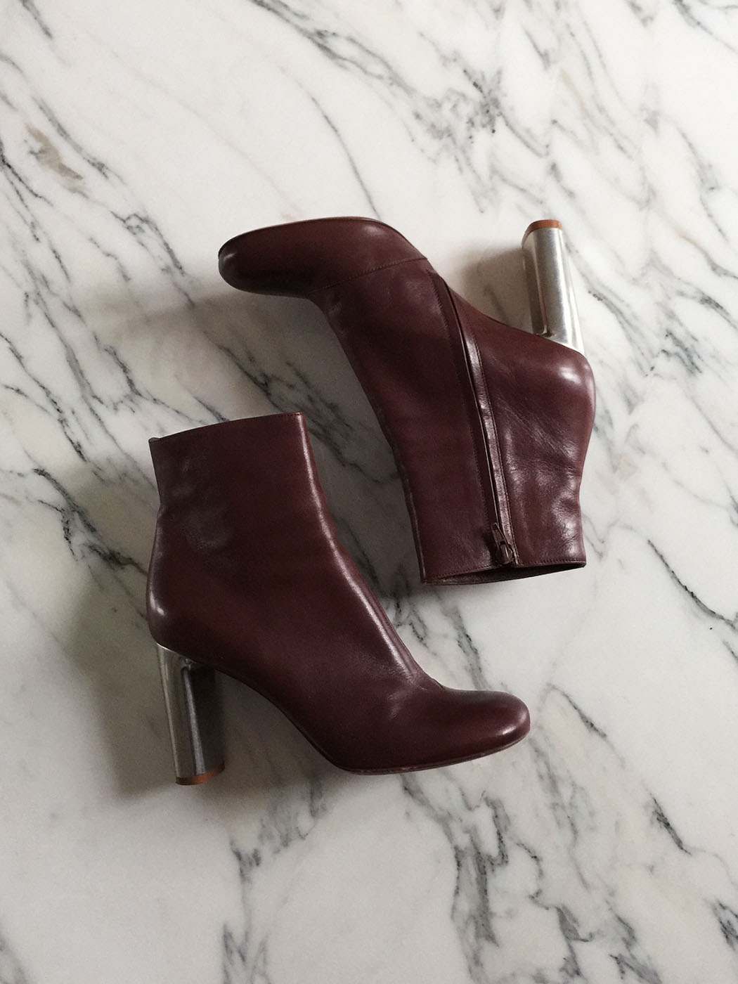 01cb993190 ... BAM BAM burgundy red leather ankle boots silver heel Retail price €730  Size 40.5