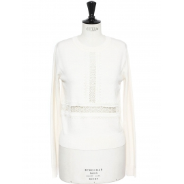 Ivory white merino wool sweater embroidered with eyelet crochet lace Retail price €850 Size S