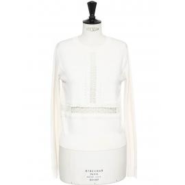 Pull en laine mérinos blanc ivoire brodé de dentelle crochet Prix boutique 850€ Taille S