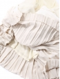 Ivory white and beige pink pleated silk short sleeve dress Retail price €1790 Size 38
