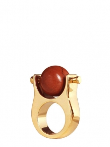 ABBY gold brass and red stone ring Retail price €470 Size 50