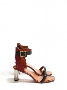 Sandales BAM BAM à bride cheville en cuir bordeaux et noir, talon argent Px boutique 650€ Taille 39,5
