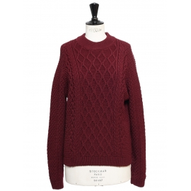 Burgundy red twisted knit wool round neck sweater Retail price €950 Size 36