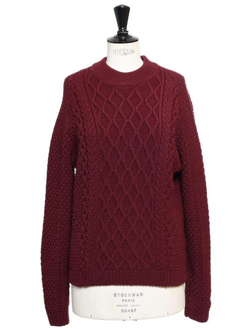 5ed895a3a Burgundy red twisted knit wool round neck sweater Retail price €950 Size 36