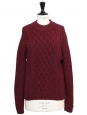 Midnight blue twisted knit wool round neck sweater Retail price €950 Size 36