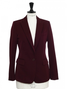Classic burgundy red twill blazer jacket Retail price €1100 Size 36