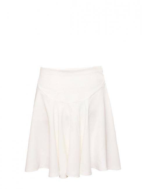 Ivory white crepe high waist flared skirt Retail price €560 Size 36