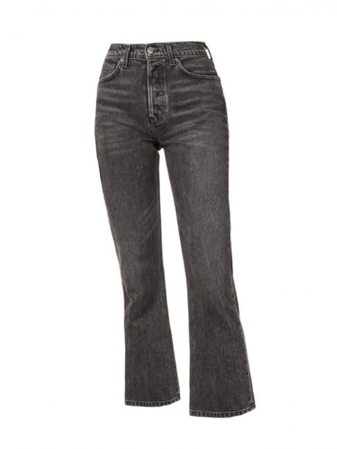 Jean taille haute Jordi Kick flare en coton gris foncé Prix boutique $128 Taille 24