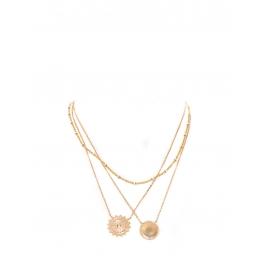 Ensemble de trois colliers sautoirs avec pendentifs médailles plaqués or