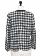 Black and white checked wool tweed jacket Size L