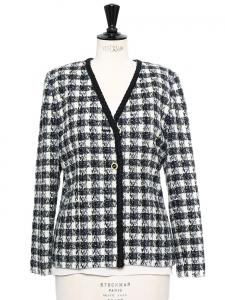 Veste de tailleur en tweed noir et blanc Taille 40