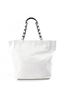 CHANEL Sac large COCO cabas en cuir blanc Prix boutique 2000€