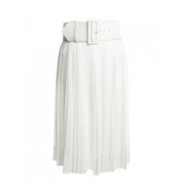 Jupe blanche plissée taille haute longueur midi et grosse ceinture Prix boutique 915€ Taille 36