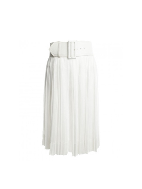 9cabdeecd5 High waist white pleated midi skirt with large belt Retail price €915 Size  36