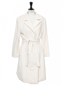 Ivory white wool and cashmere long belted coat Retail price €950 Size 38