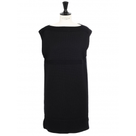 Black wool knit sleeveless mini dress Retail price €990 Size M