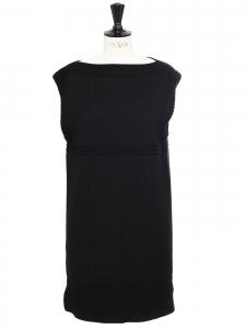 Robe droite sans manche en maille de laine épaisse noire Prix boutique 990€ Taille M