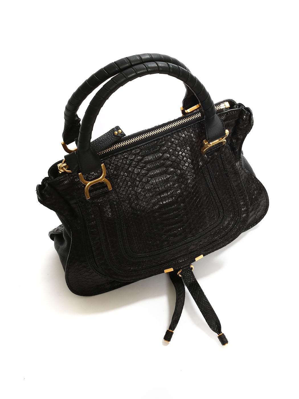 240a8c74cd Louise Paris - CHLOE Sac MARCIE medium en python noir Px boutique 2450€