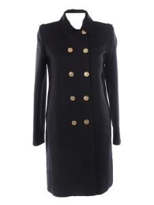 Black wool and gold buttons straight cut coat Retail price $3200 Size 40
