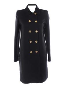 Manteau mi-long droit en laine noire et boutons dorés Prix boutique $3200 Taille 40