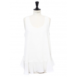 Iconic ivory white silk crepe tank top with ruffle Retail price €420 Size 38