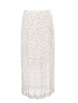 Black Strawberry print cream white pleated chiffon maxi skirt Retail price €295 Size 36