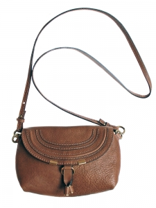 Petit sac à bandoulière / cross body MARCIE en cuir grainé marron