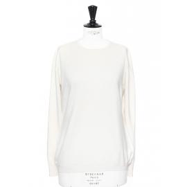 Cream cashmere and silk round neck sweater Retail price €890 Size M