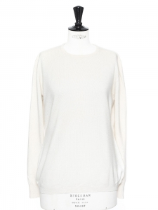 Cream cashmere and silk round neck sweater Retail price €890 Size M