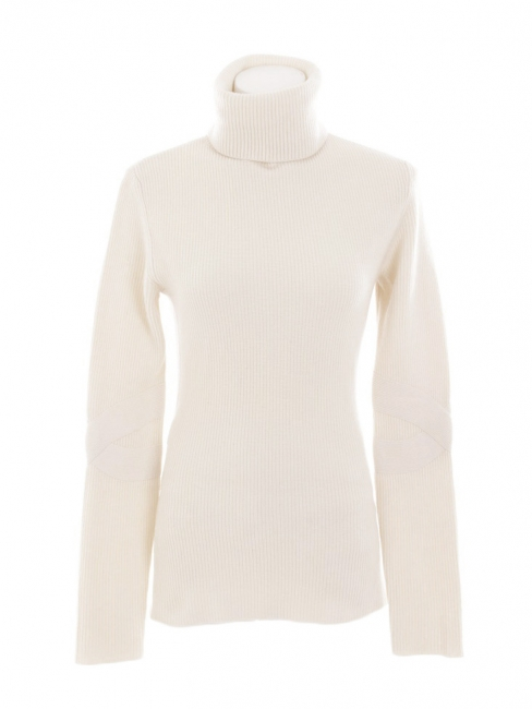 Cream white cashmere and wool turtle neck sweater Retail price €1200 Size 36