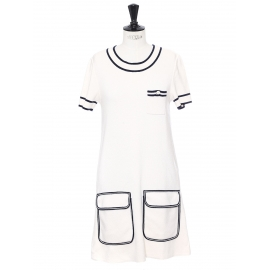 White wool knitted short sleeves dress with navy trimming Retail price €950 Size M