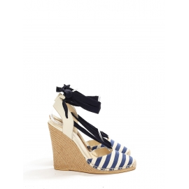Ivory white and navy blue striped canvas espadrilles wedge sandals Retail price €450 Size 39